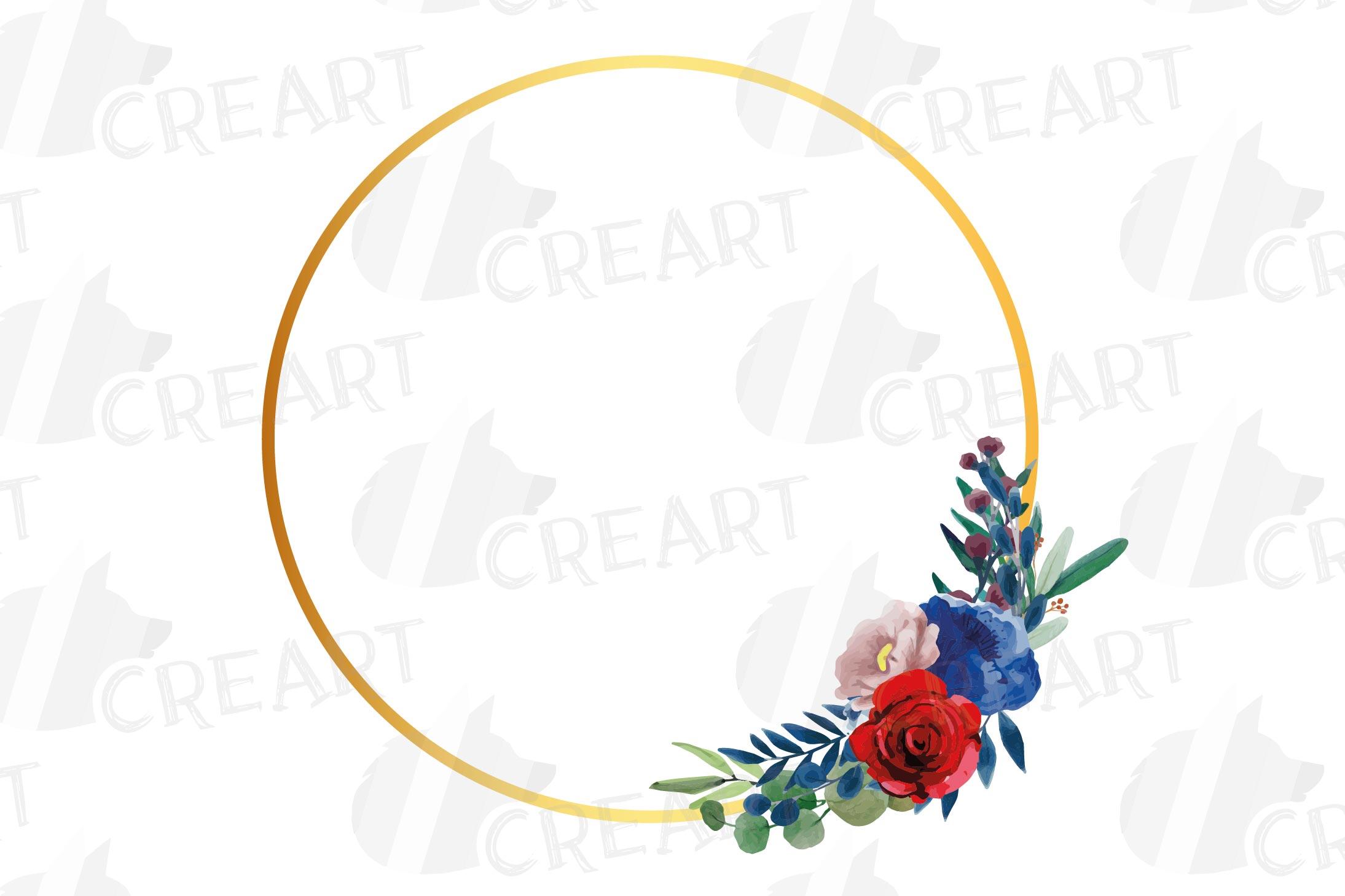 Watercolor elegant floral borders clip art. Wedding frames example image 18
