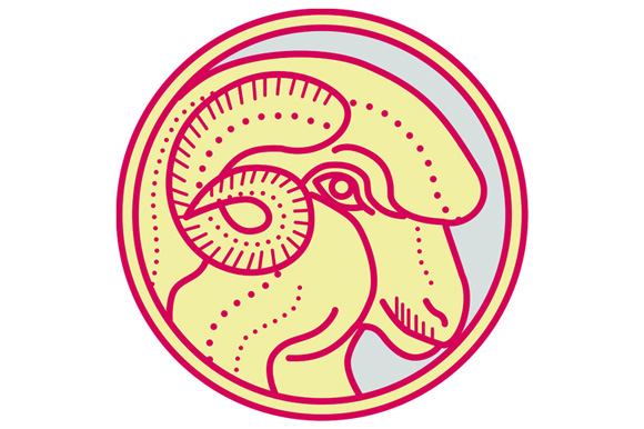 Merino Ram Sheep Head Circle Mono Line example image 1
