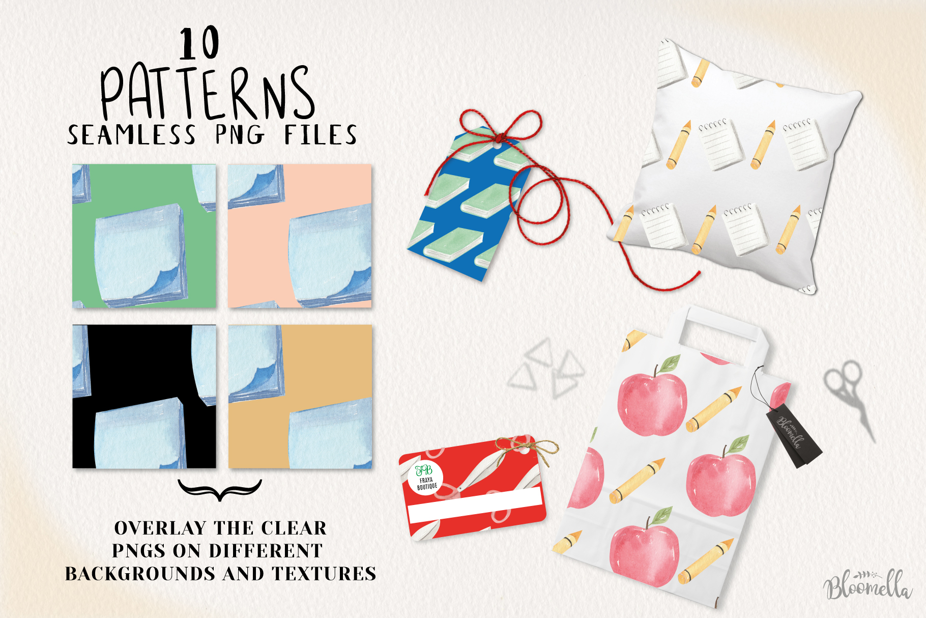 School Books Apple Pens Seamless Patterns Digital Papers Fun example image 2