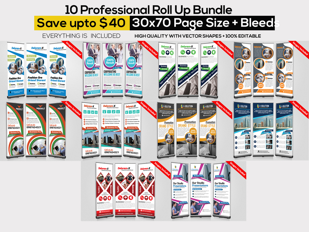 10 Multi Use Business Roll Up Banners Bundle example image 1