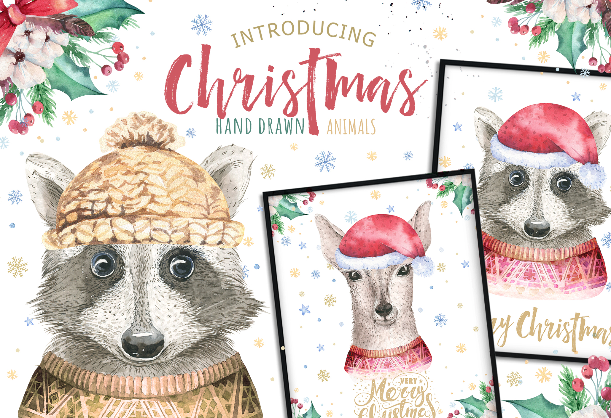 Christmas raccoon and deer animals example image 1