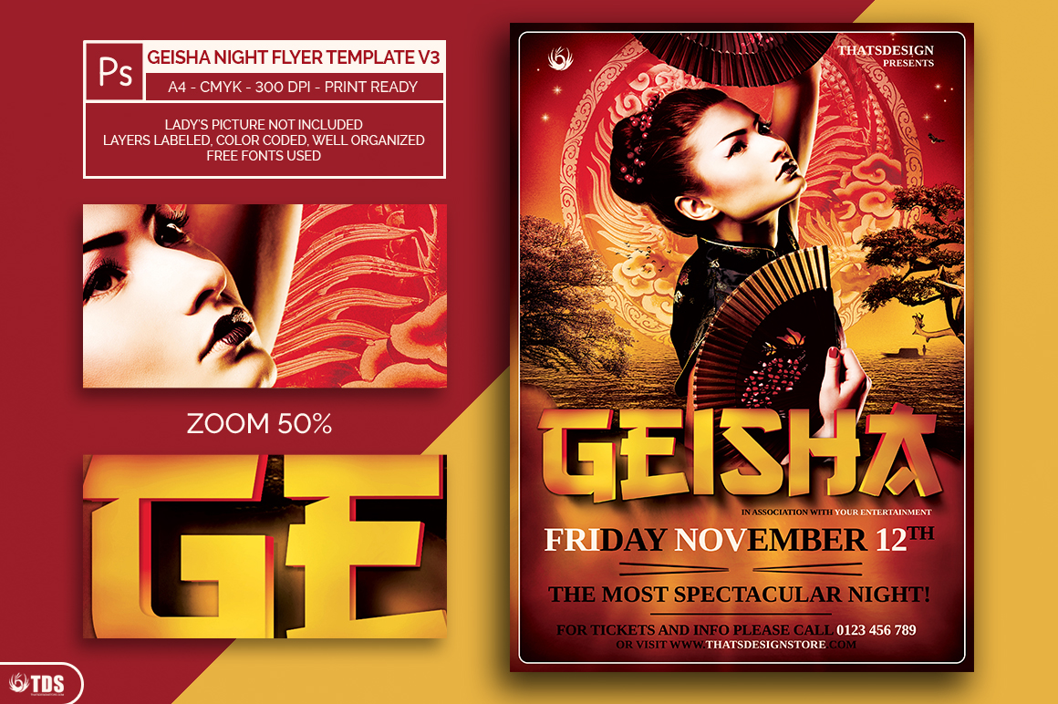 Geisha Night Flyer Template V3 example image 2