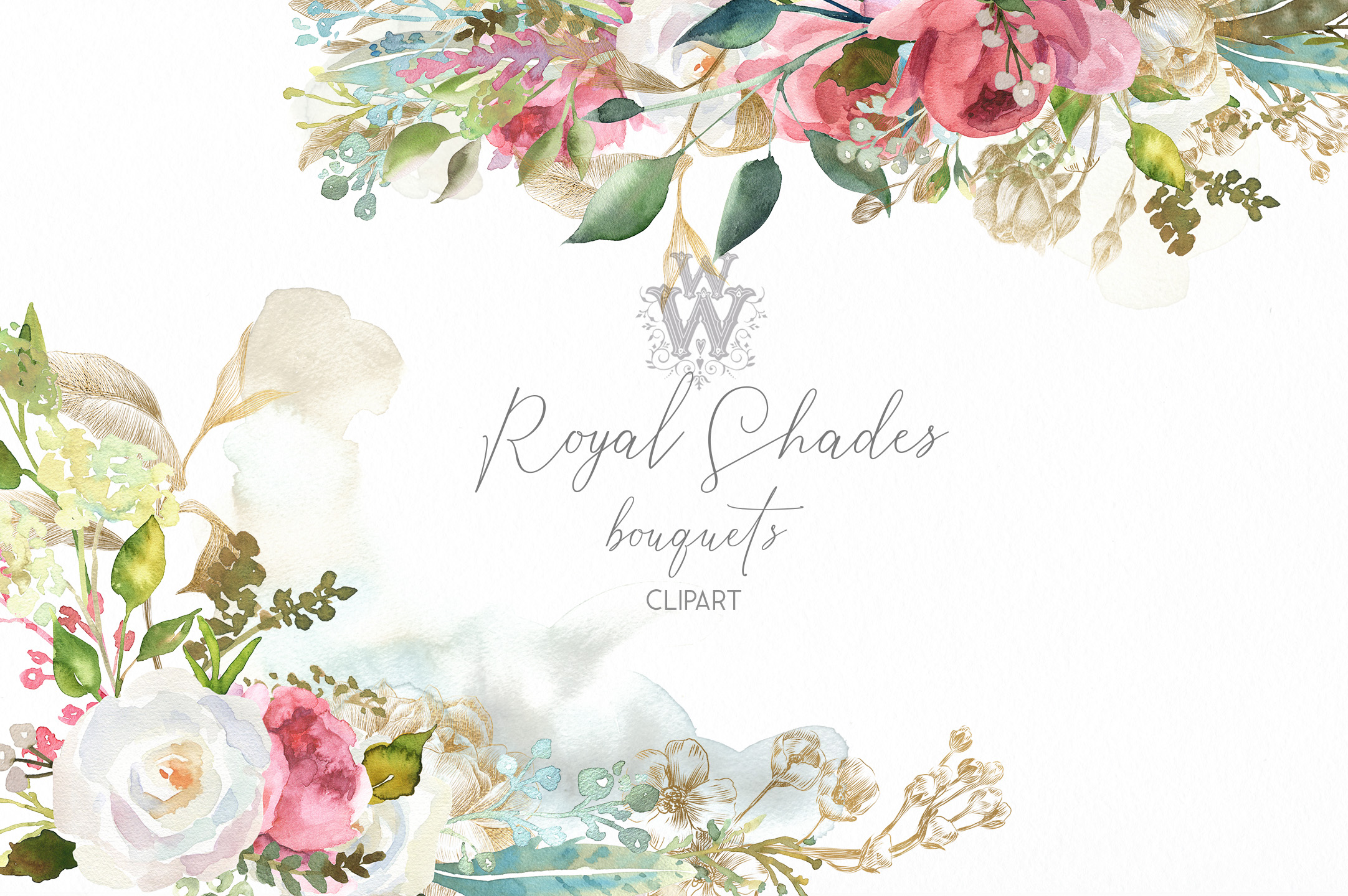 Watercolor rustic wedding bouquets clipart, vintage wreath example image 1