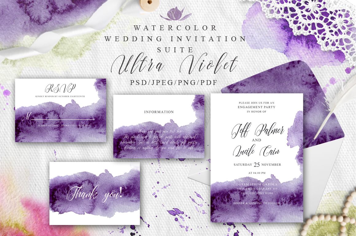 Ultra Violet Watercolor Wedding Invitation suite example image 1