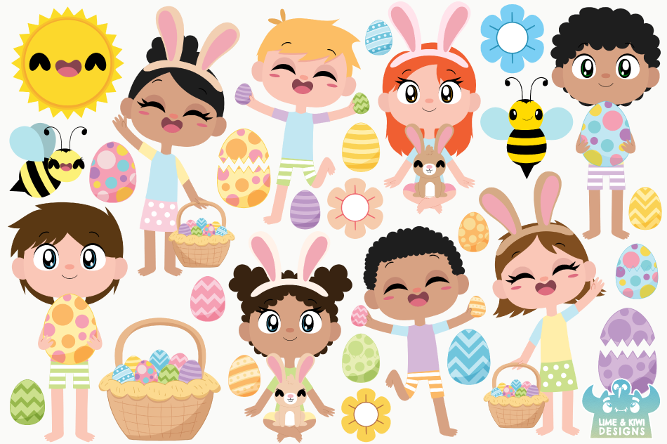 Easter Egg Hunt Clipart, Instant Download Vector Art example image 2