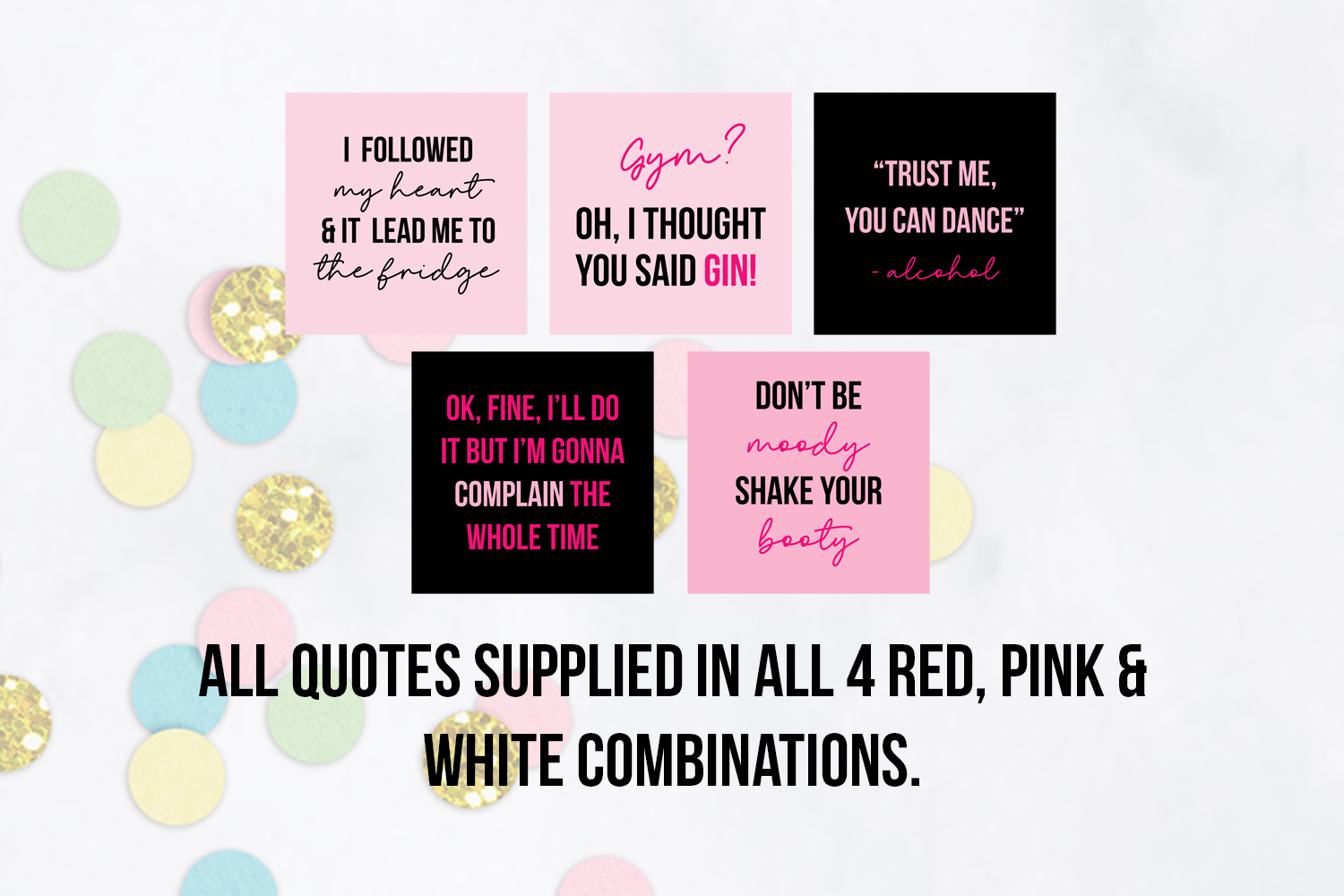 25 x Pink & Black Funny Social Media Quotes example image 4