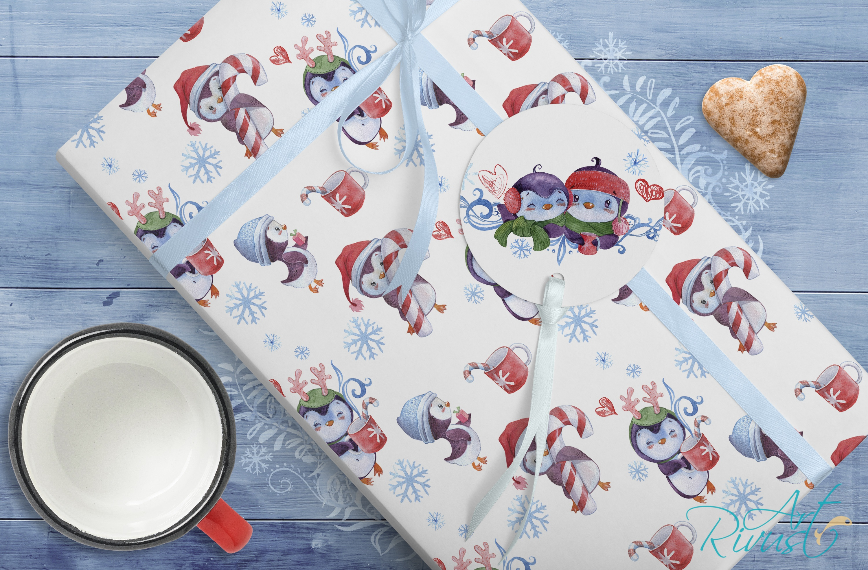 Christmas Penguins watercolor CLIPARTS, DIGITAL PAPERS example image 8