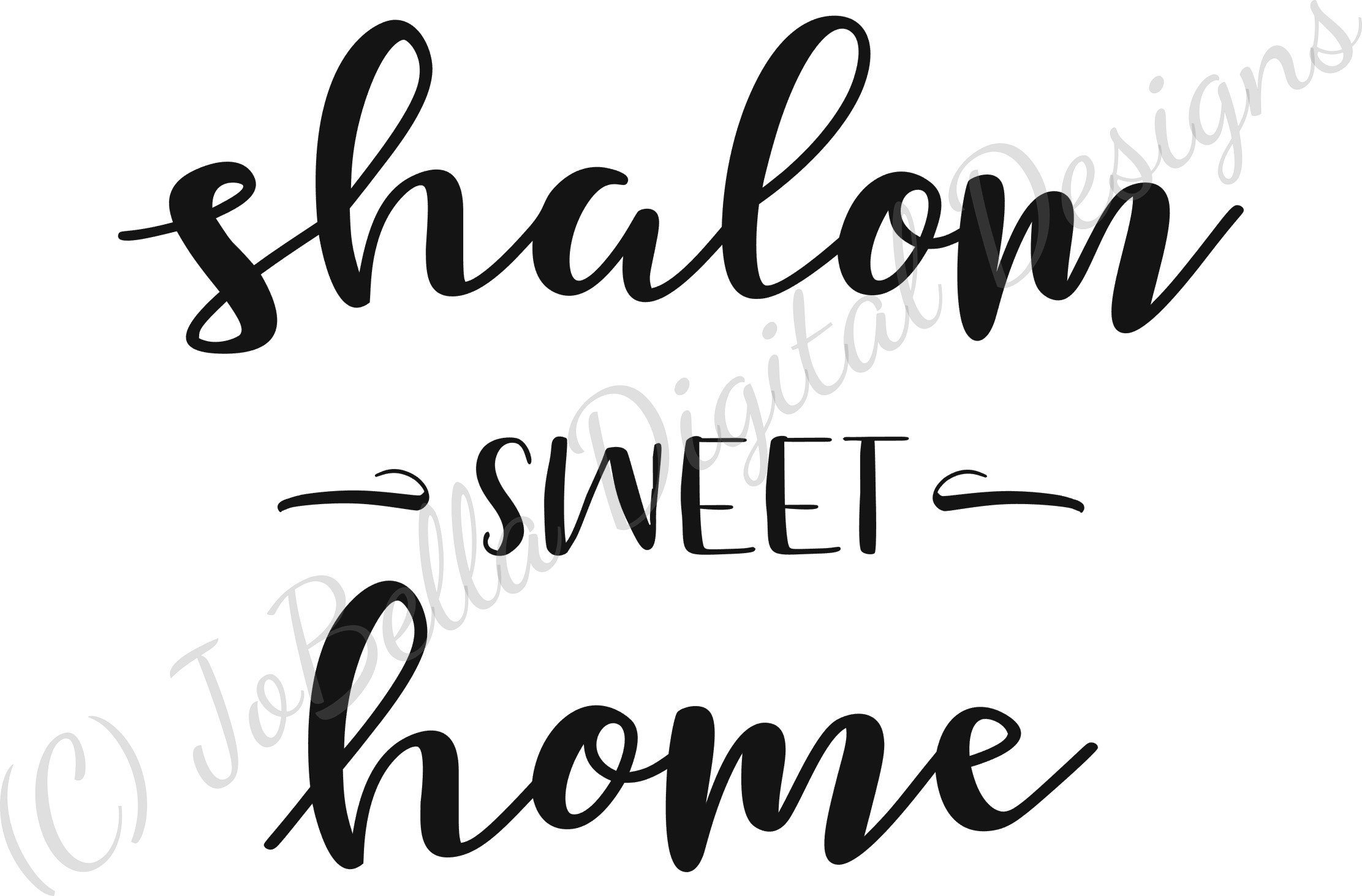 Shalom Sweet Home SVG, Printable and Sublimation PNG example image 3