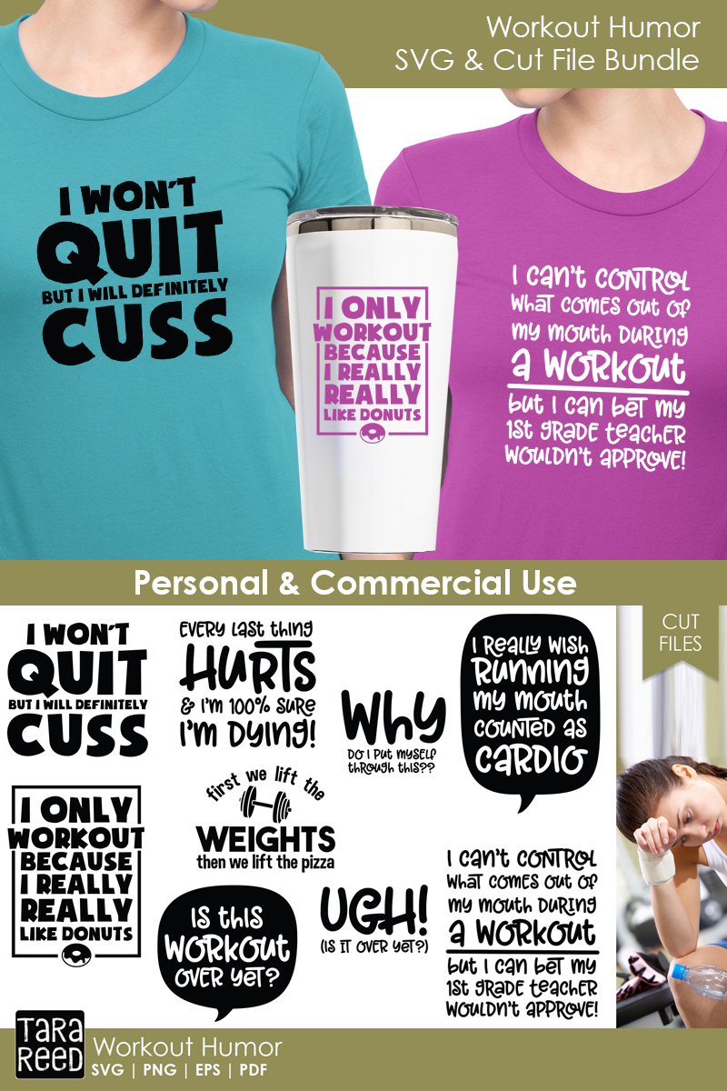 Workout Humor - Fitness SVG & Cut Files for Crafters example image 2