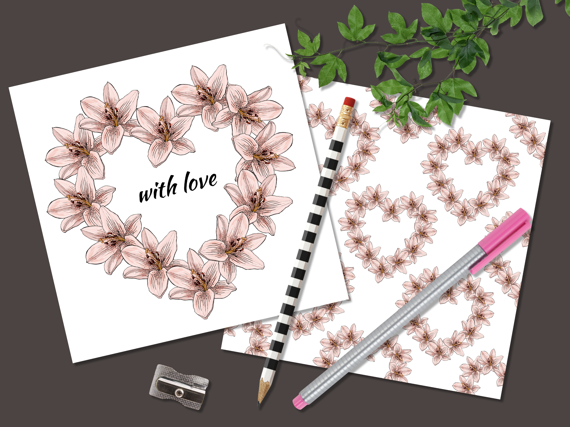 Design with lily flowers. Seamless patterns and postcards. example image 7