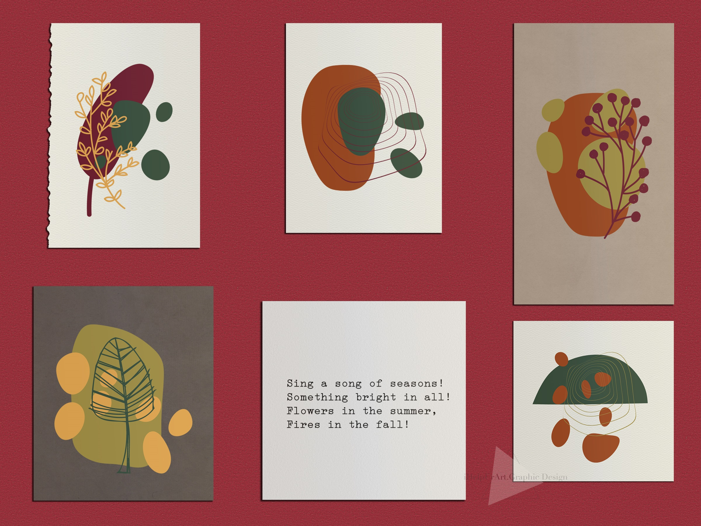 Modern Abstract Design Bundle - Autumn Clip Art example image 3