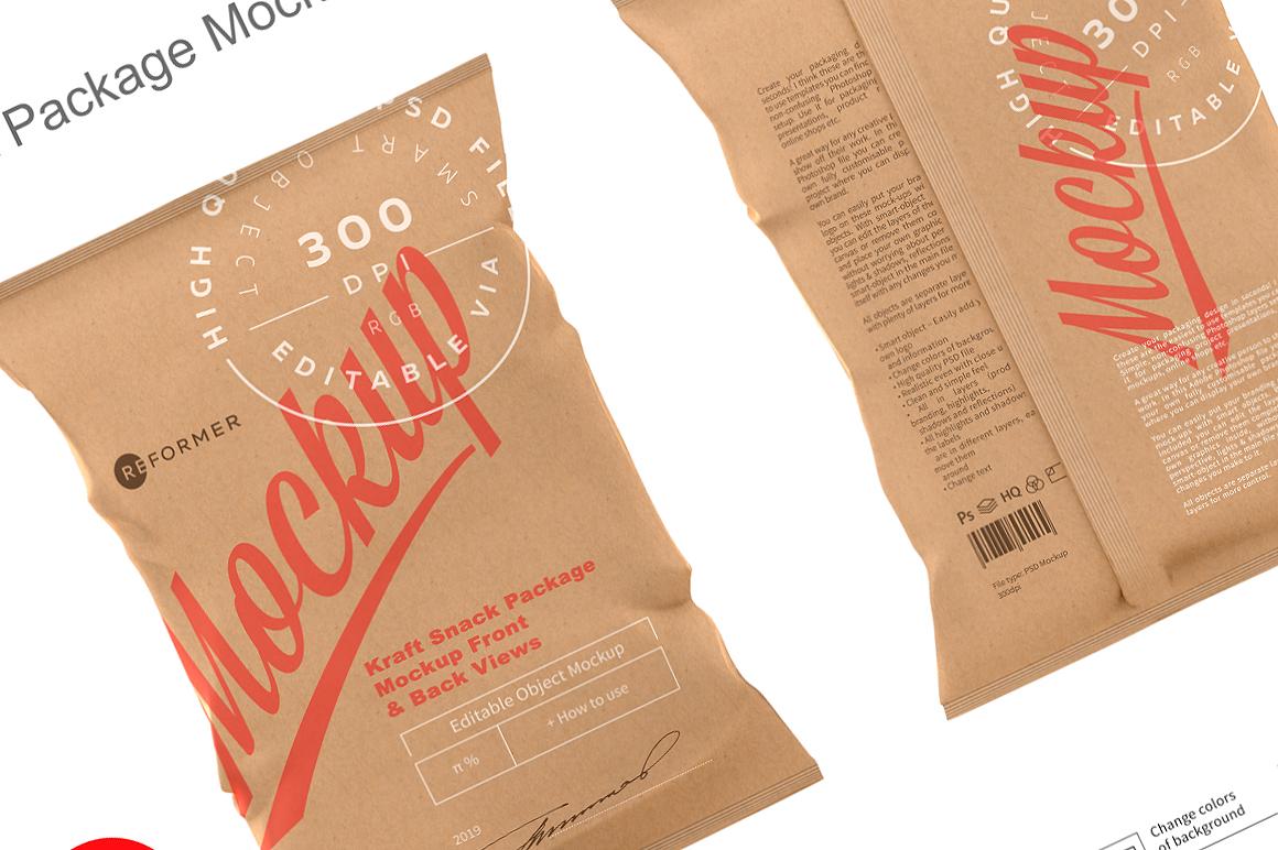 Kraft Snack Package Mockup Front & Back Views example image 3