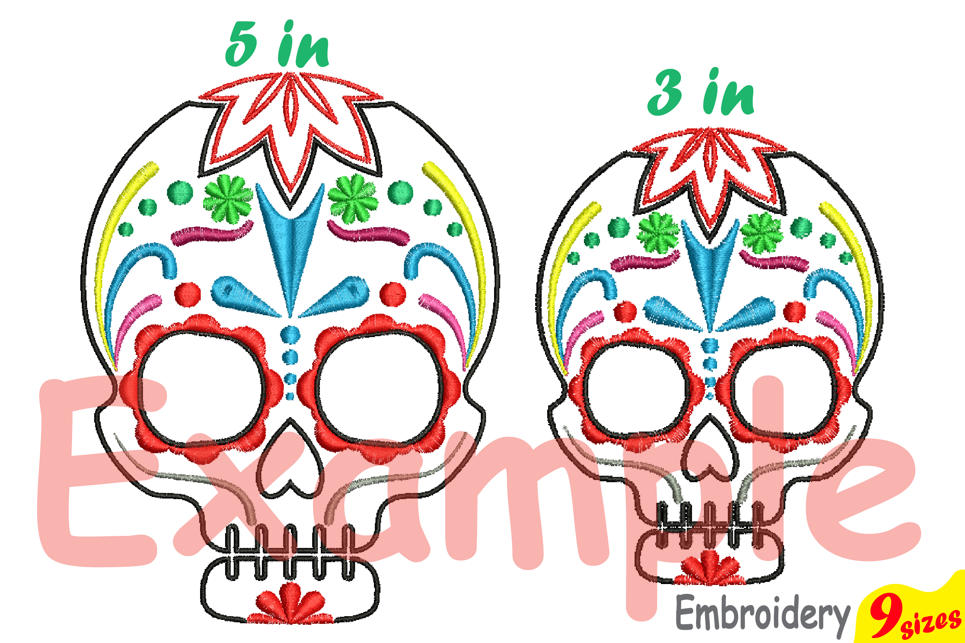 Cinco De Mayo Embroidery Design Instant Download Commercial Use digital file 4x4 5x7 hoop Machine icon outline Fiesta Mexico skull 199b example image 4