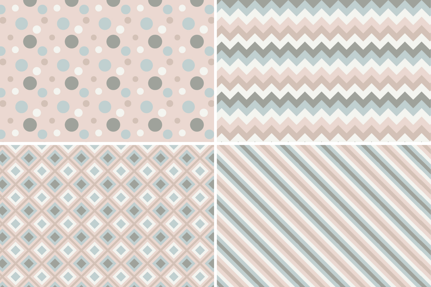 8 Seamless Retro Modern Patterns - Pink, Ivory & Green example image 7