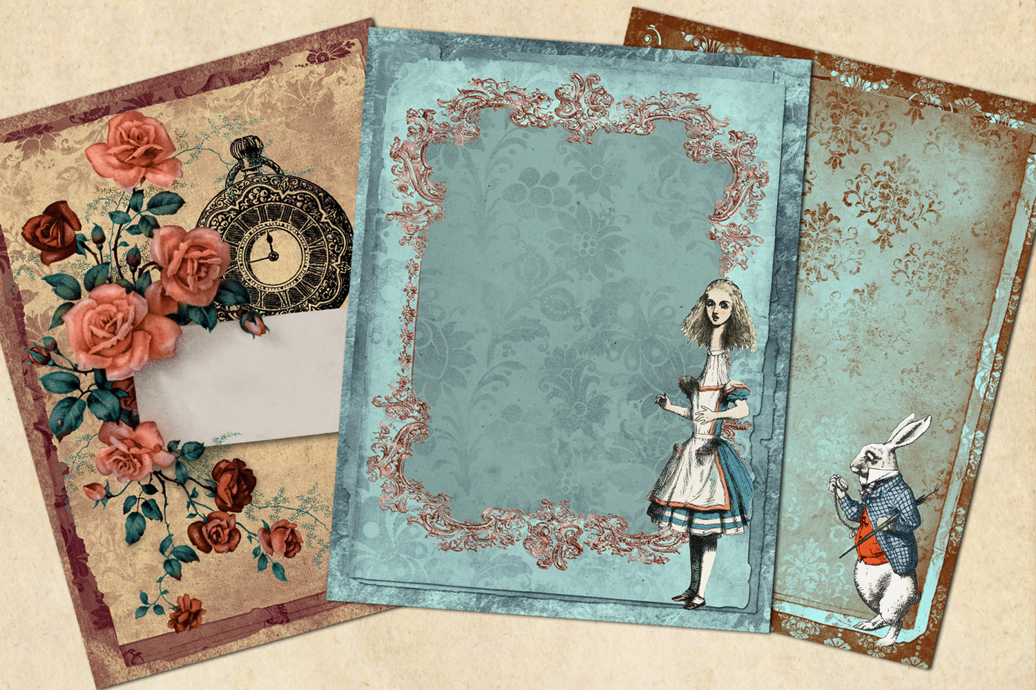 Whimsical Alice in Wonderland Journal Paper example image 3