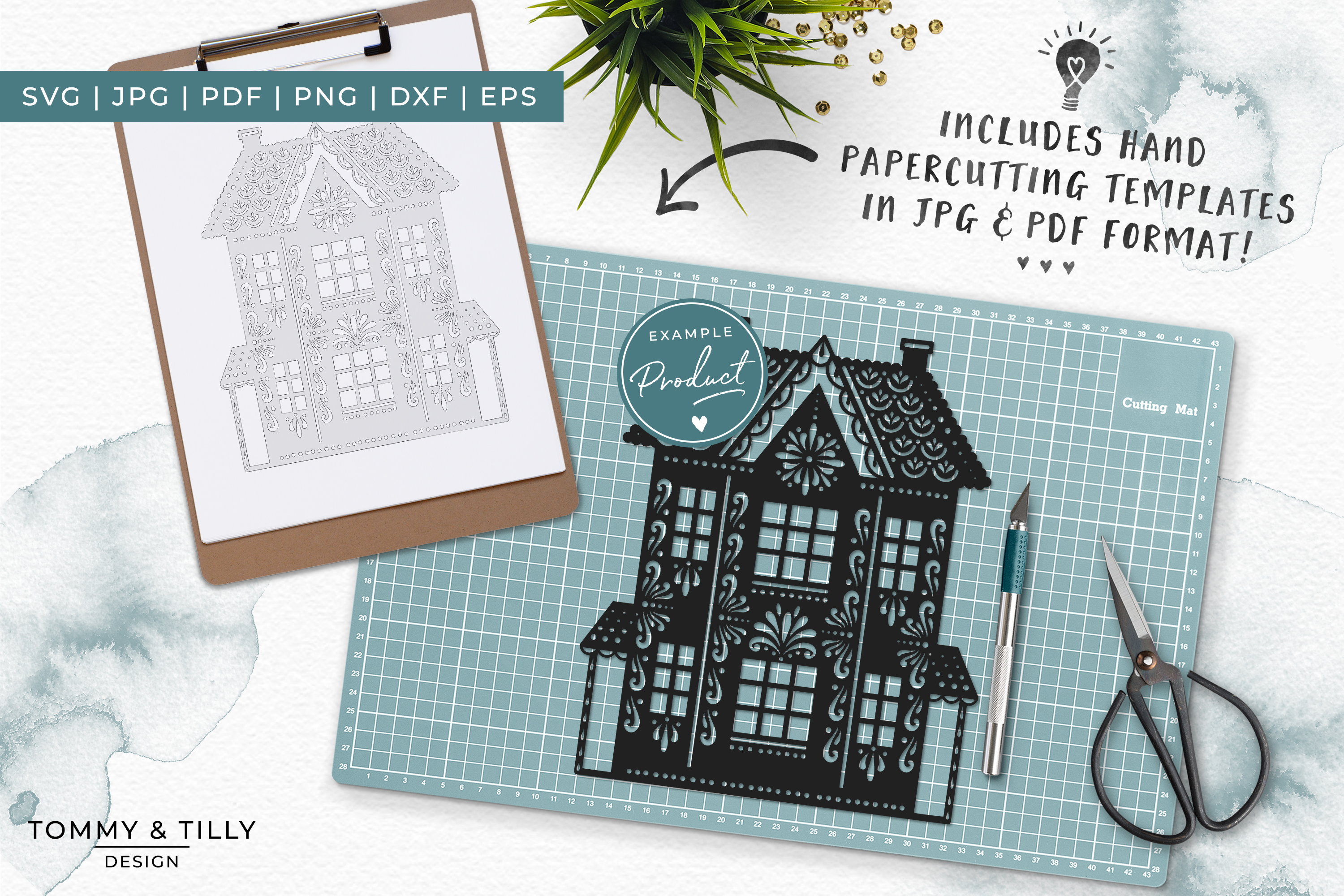 Intricate House No.1 - SVG EPS DXF PNG PDF JPG Cut File example image 5