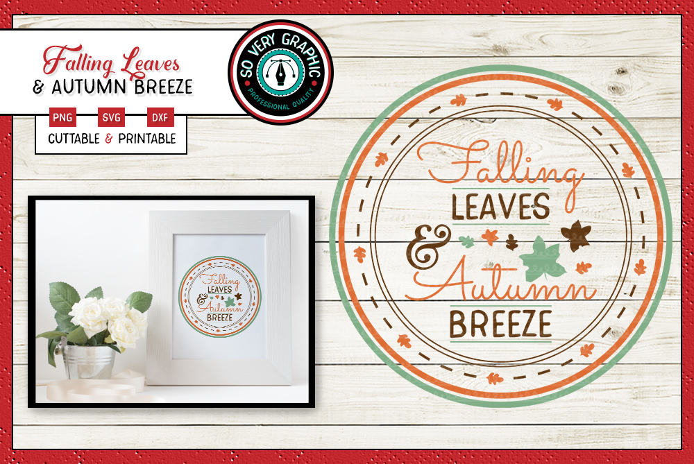 Falling Leaves & Autumn Breeze | SVG | PNG | Printable example image 1