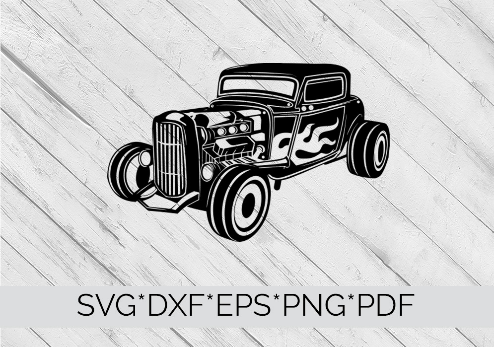 HotRod Classic Truck  SVG Cutting File  example image 2