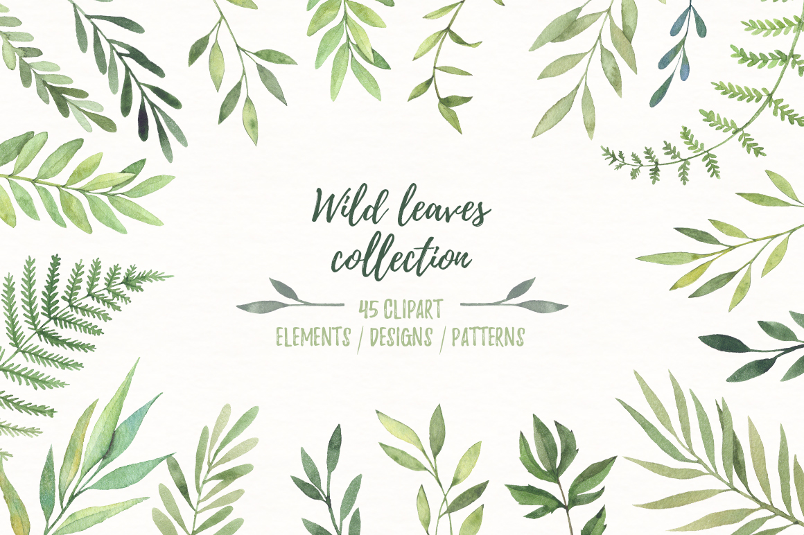 Wild leaves clip art. Watercolor set example image 1