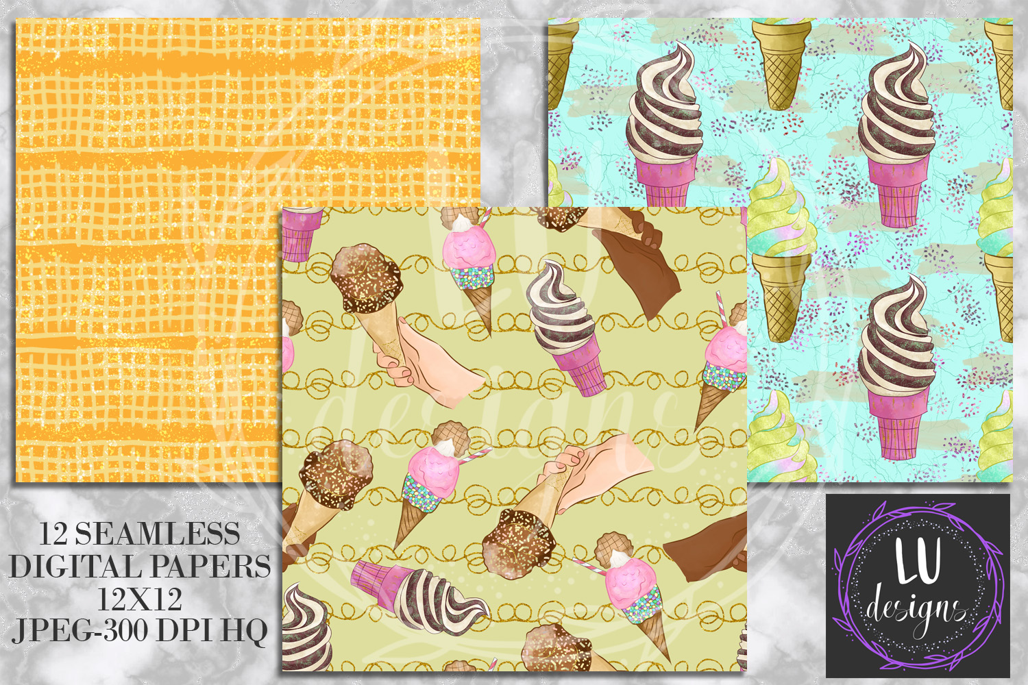 Ice Creams Digital Papers, Summer Seamless Patterns, Dessert Backgrounds example image 5
