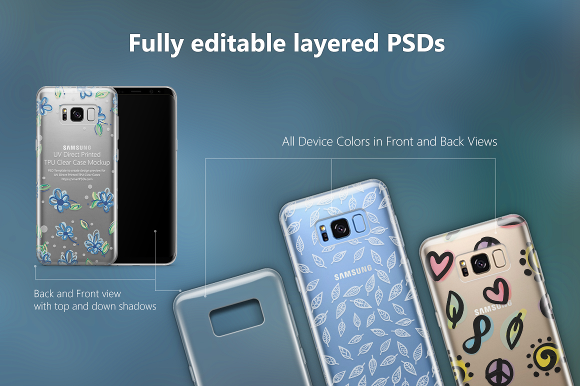 UV TPU Clear Phone Case Mockup Bundle of 28 PSDs example image 2