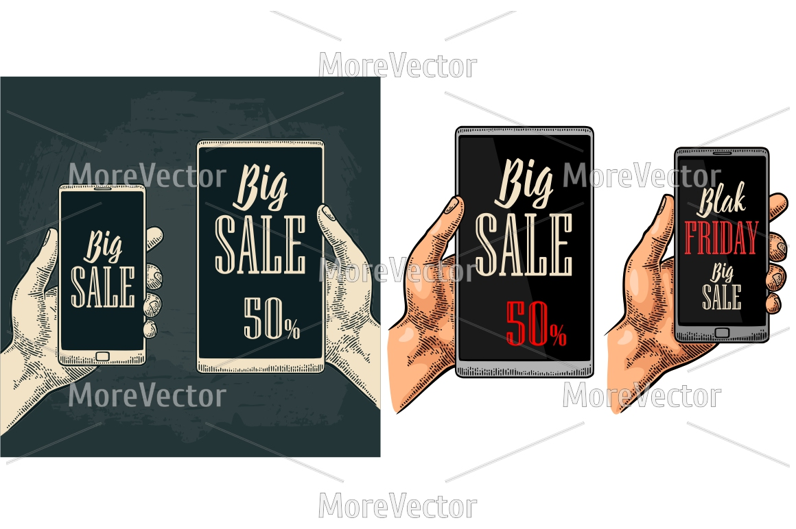 Smartphone hold male hand with hanging sale tag up to 10 - 90 percent text. Lettering BLACK FRIDAY BIG SALE.  example image 2