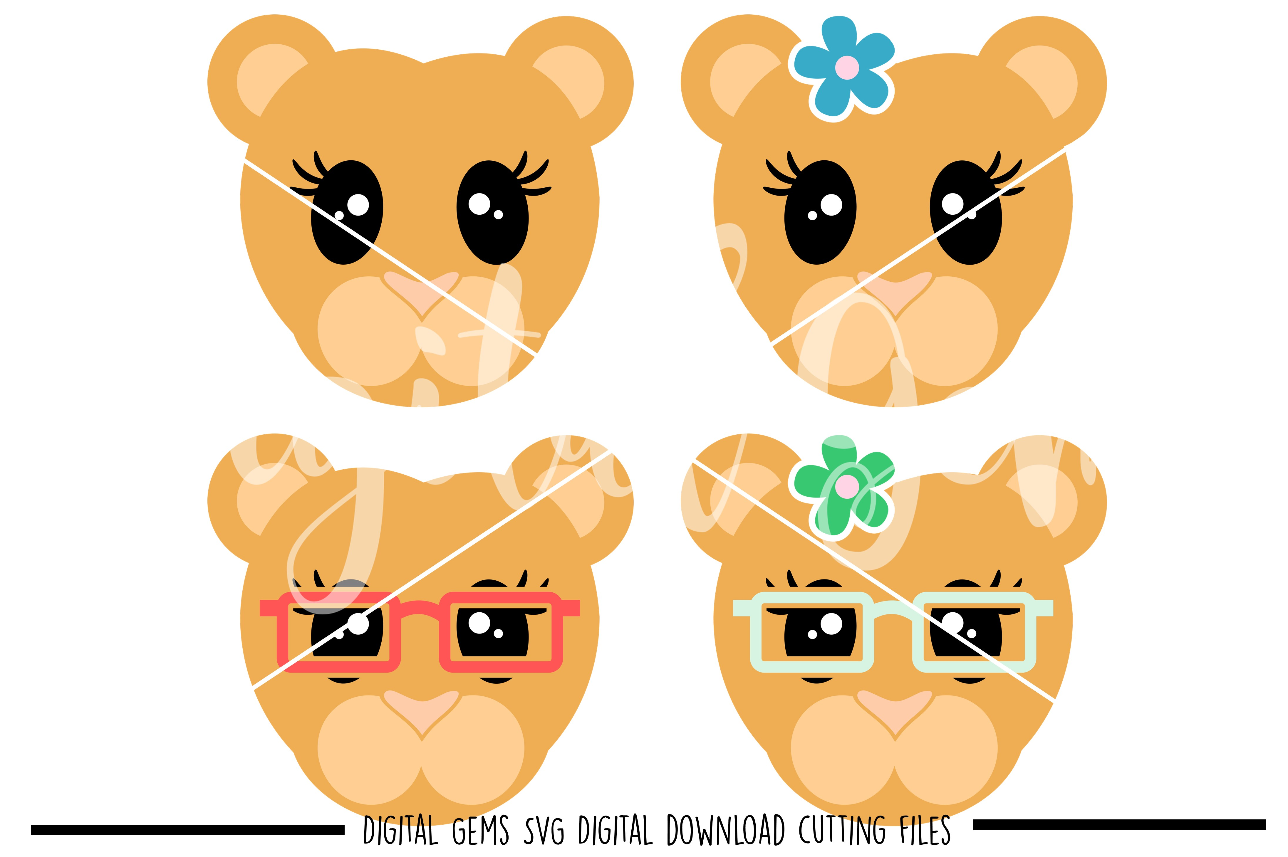 Lioness faces SVG / PNG / EPS / DXF Files example image 1