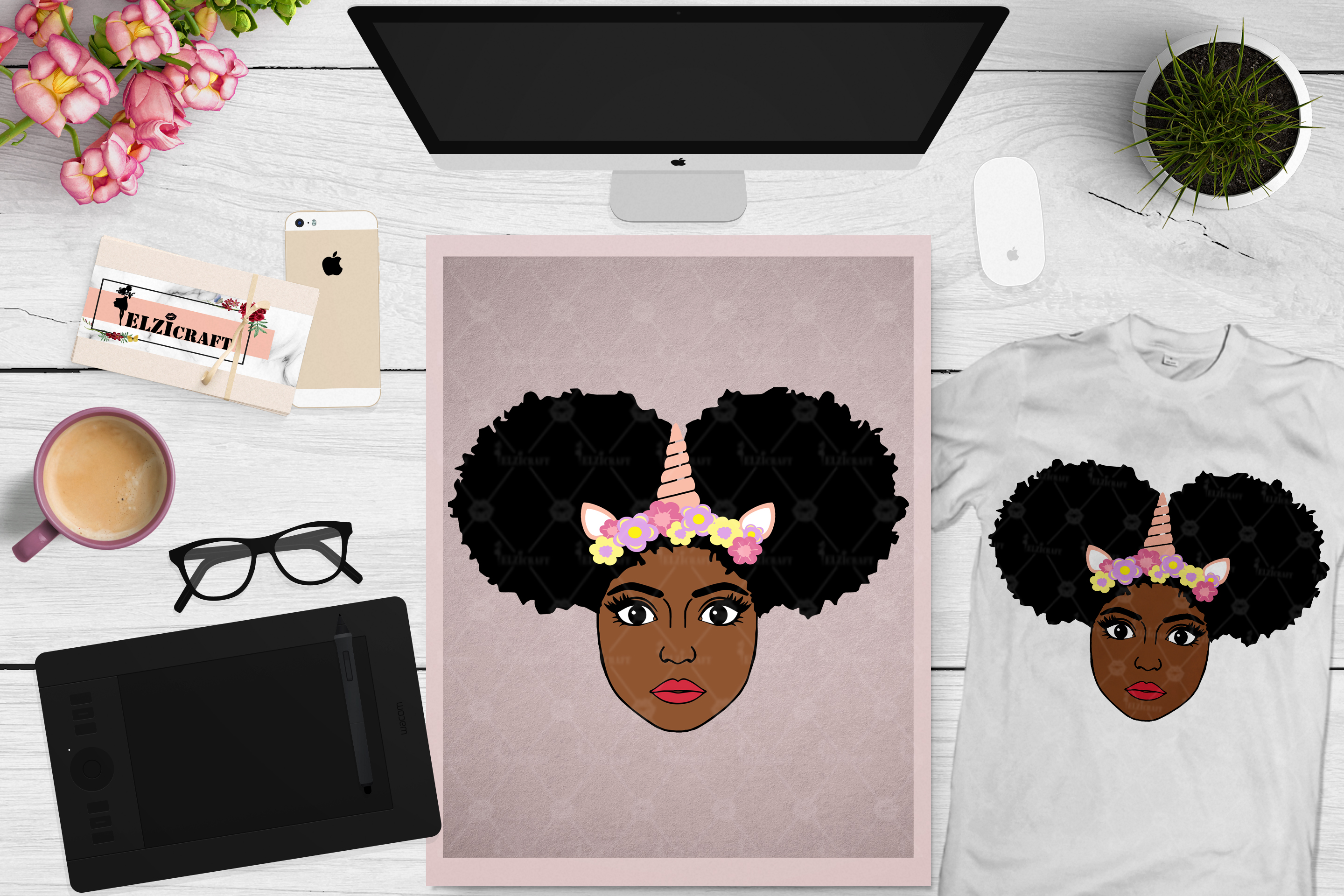 Afro Girl, Afro Puff, Afro Unicorn Face, Flower SVG Cut File example image 1
