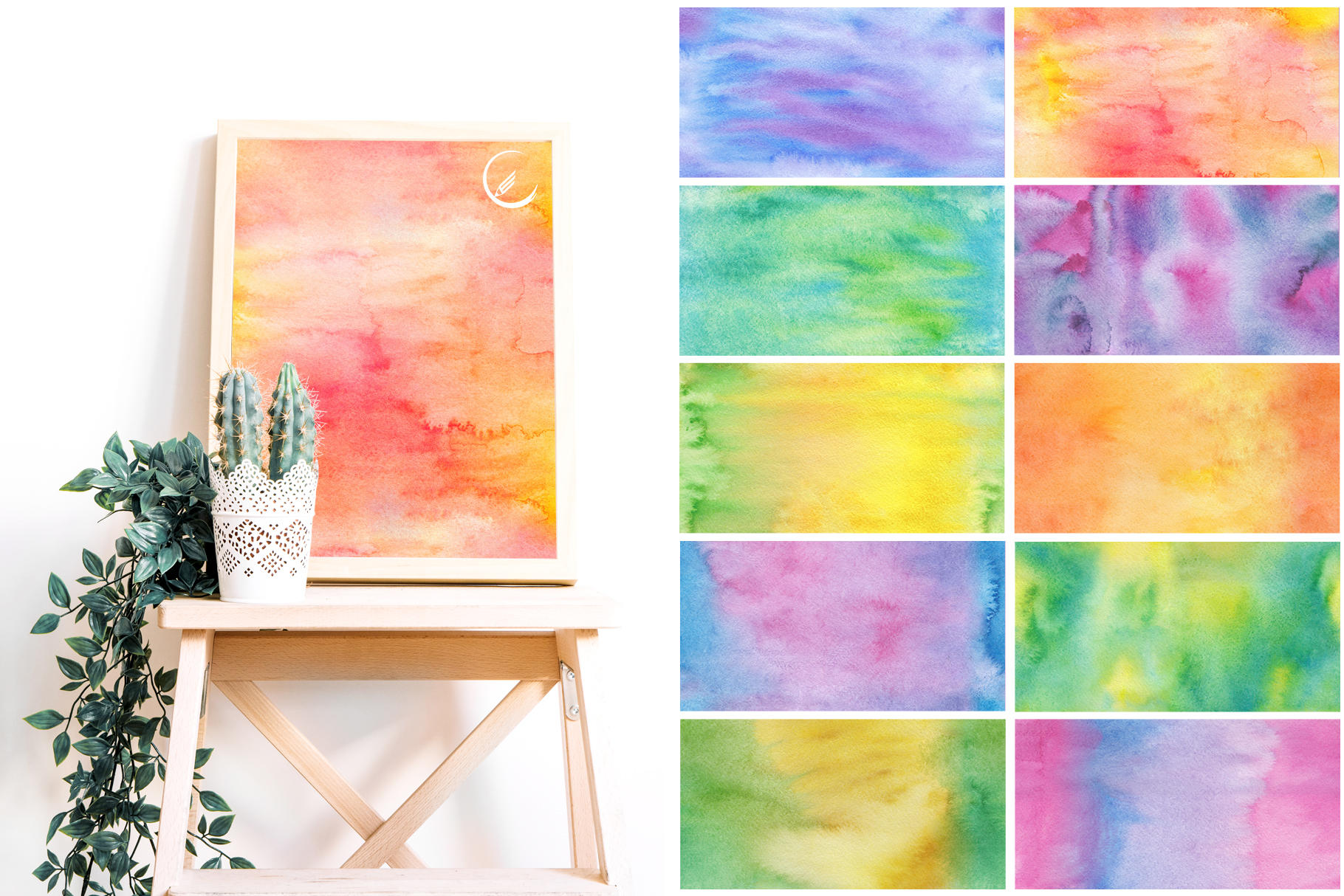 Watercolor Hand Drawn Seamless Textures example image 2