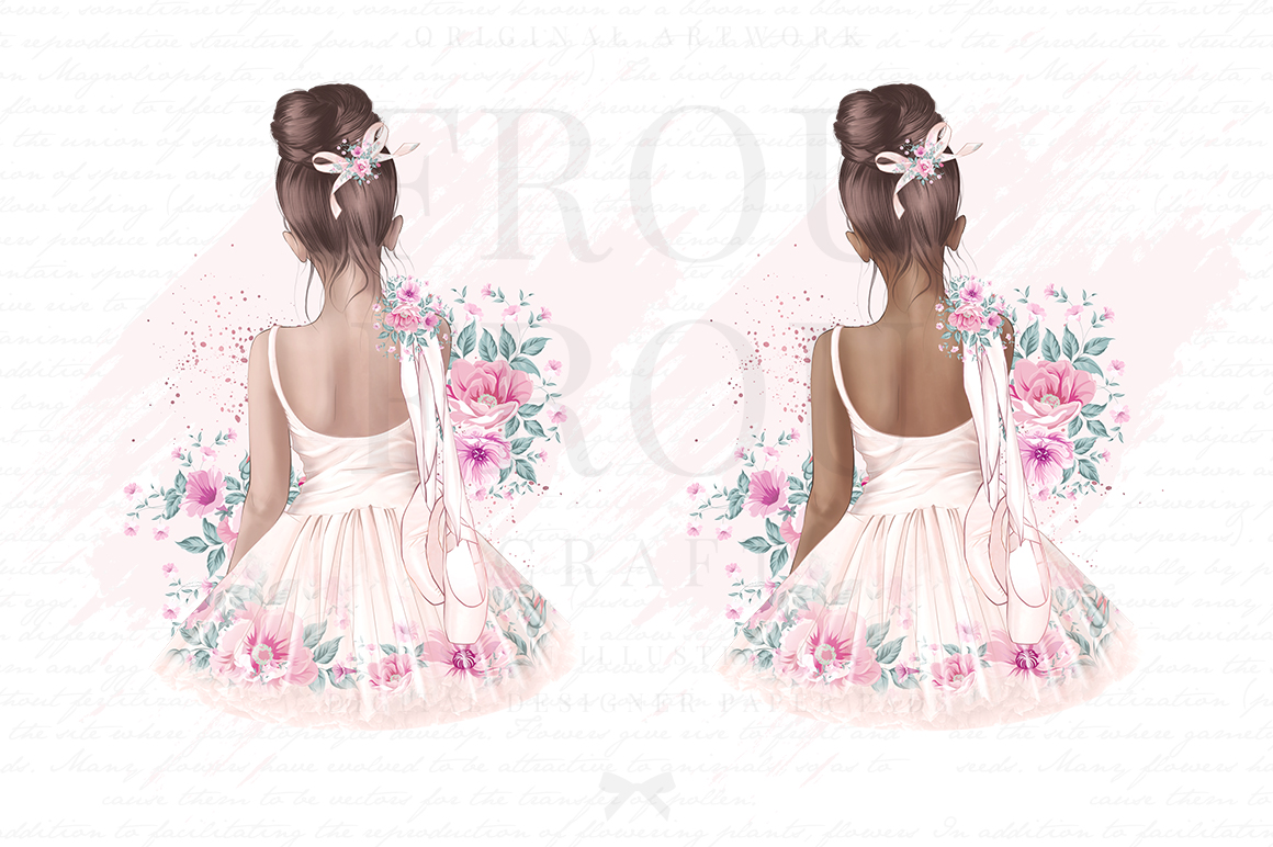 Ballet Watercolor Hand Drawn Child Dress Clipart example image 3