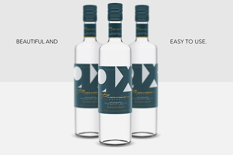 Beverage Mockup - Glass - Translucent Bottle - Matte Label example image 1