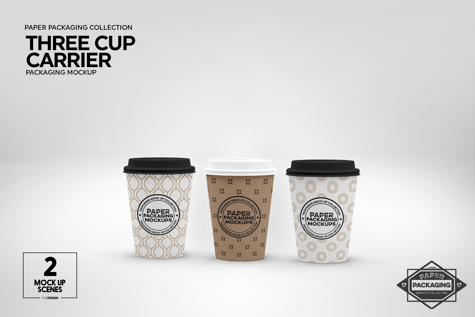 Three Cup Paper Carrier Packaging Mockup example image 7