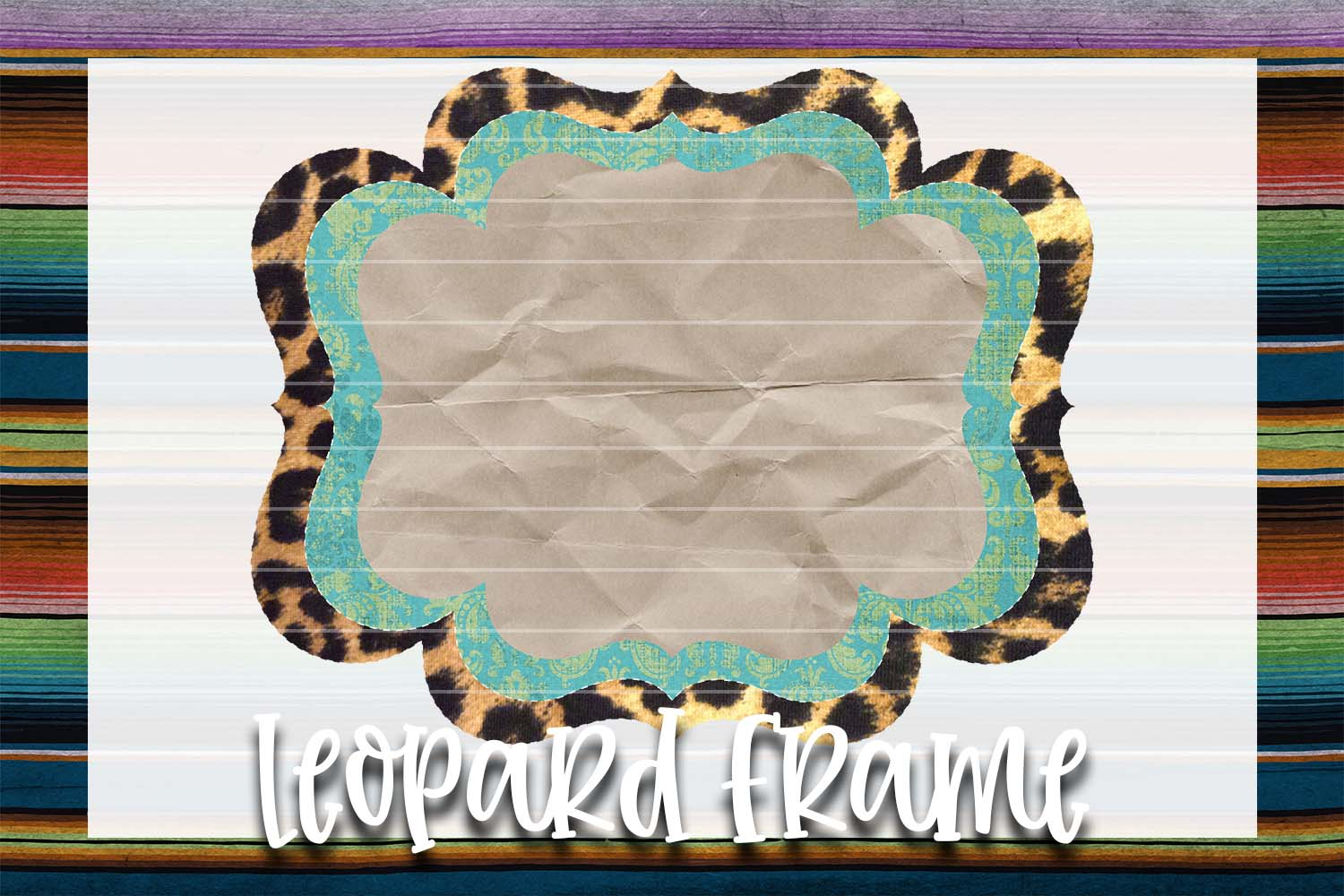 Lime Green & Teal Leopard Frame Background Element example image 1