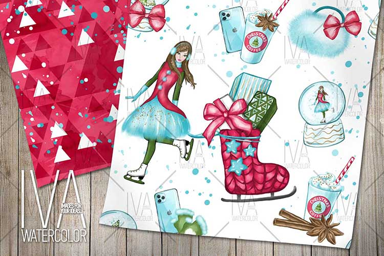 Christmas Digital Paper Pack, Christmas Scrapbook example image 2