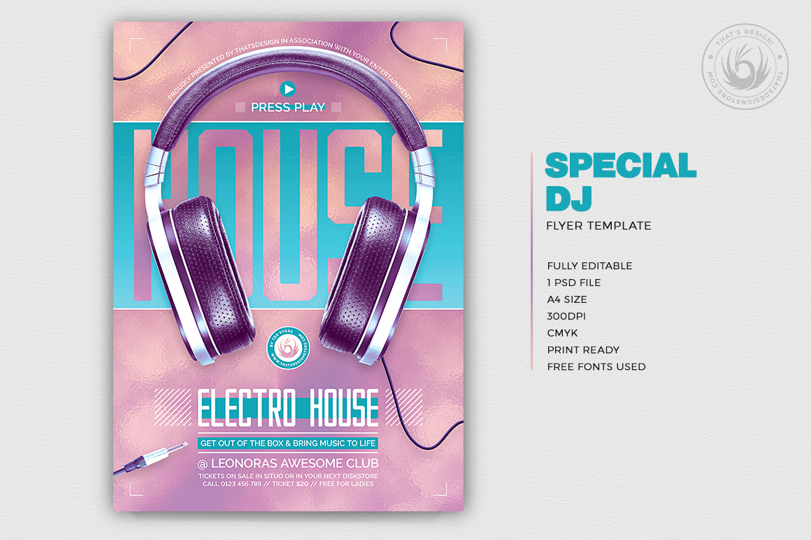 Special Dj Flyer Template V7 example image 2