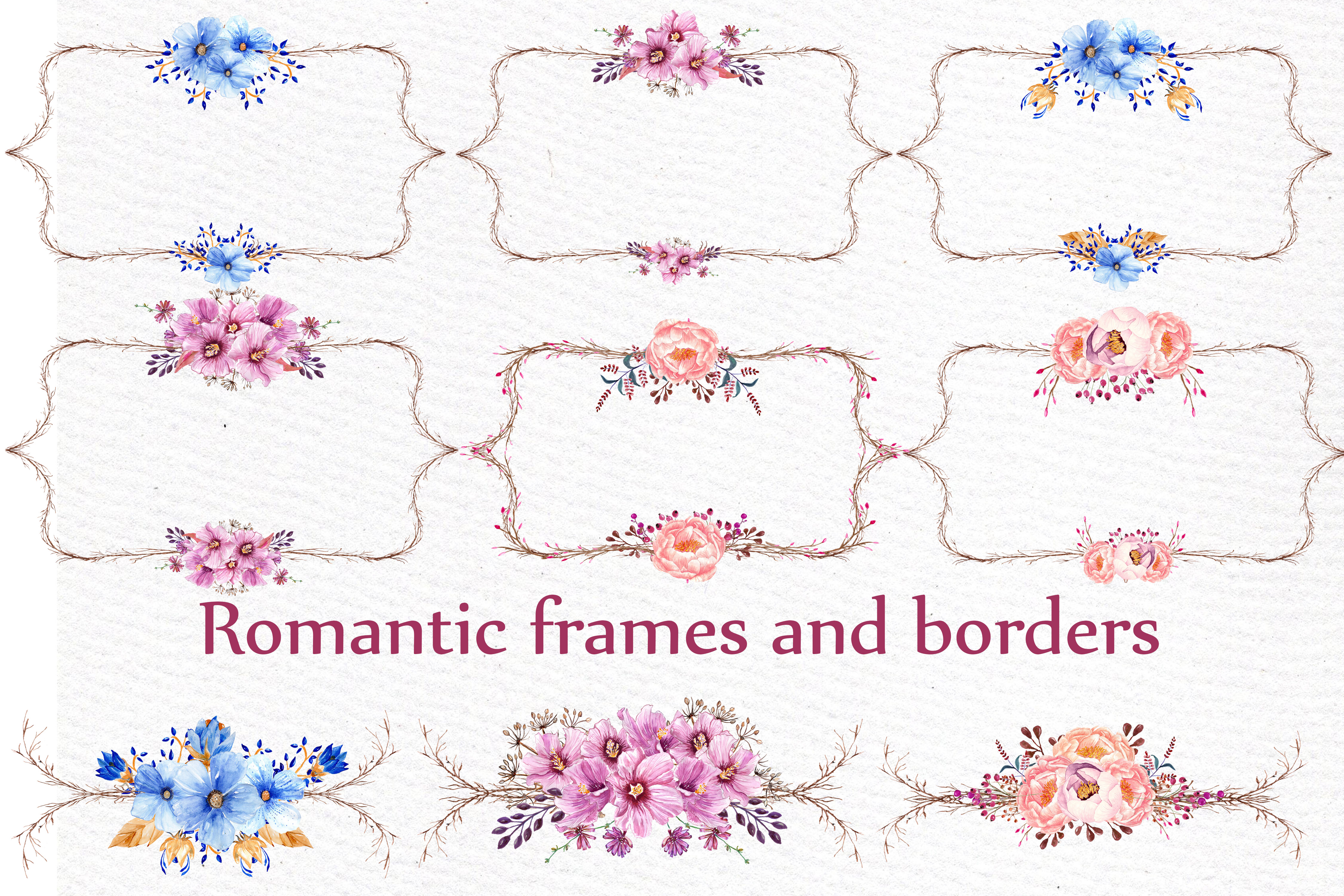 Watercolor frames and borders example image 1