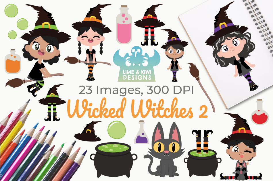 Wicked Witches 2 Clipart, Instant Download Vector Art example image 1