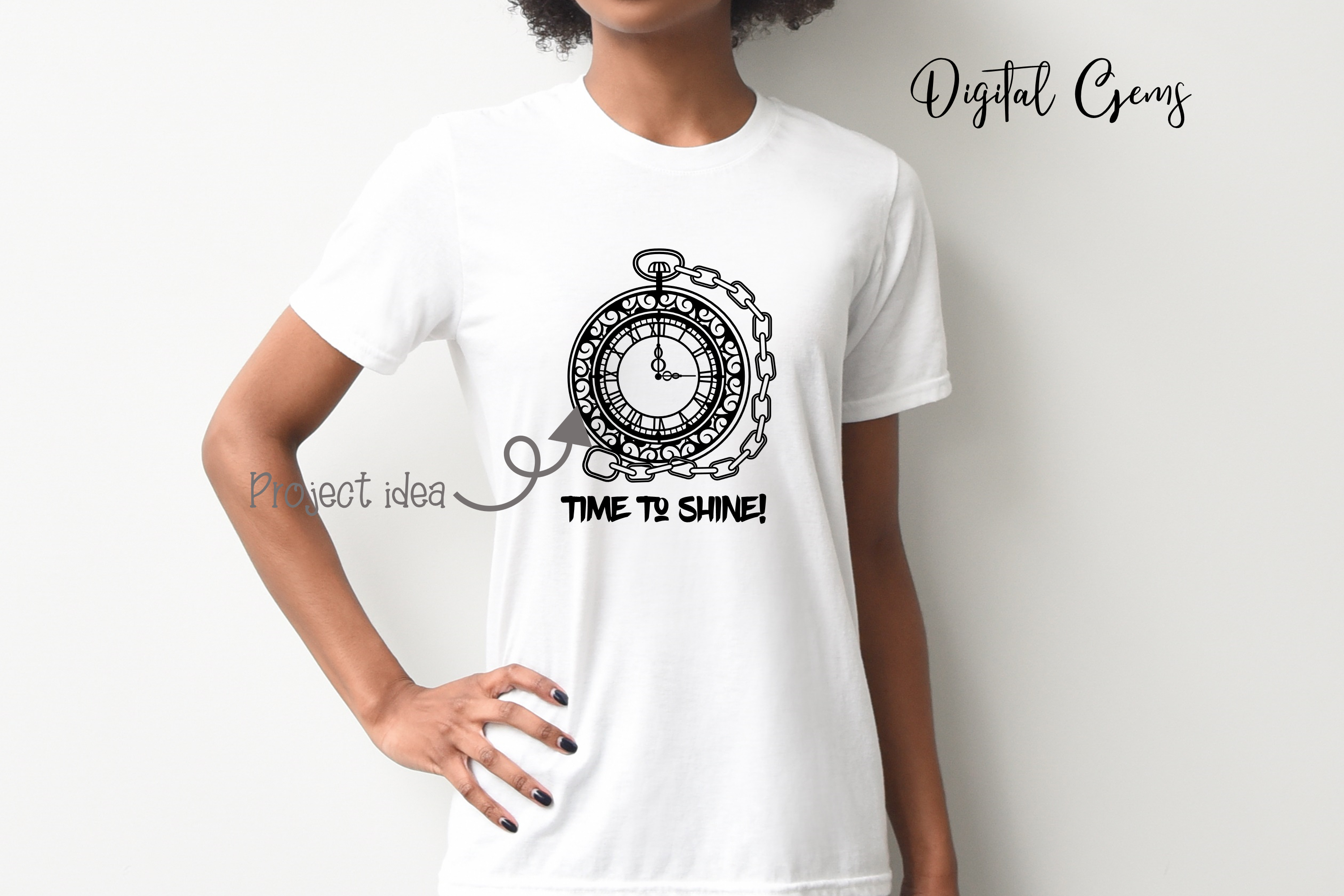 Pocket watch papercut design SVG / EPS / DXF / PNG Files example image 4