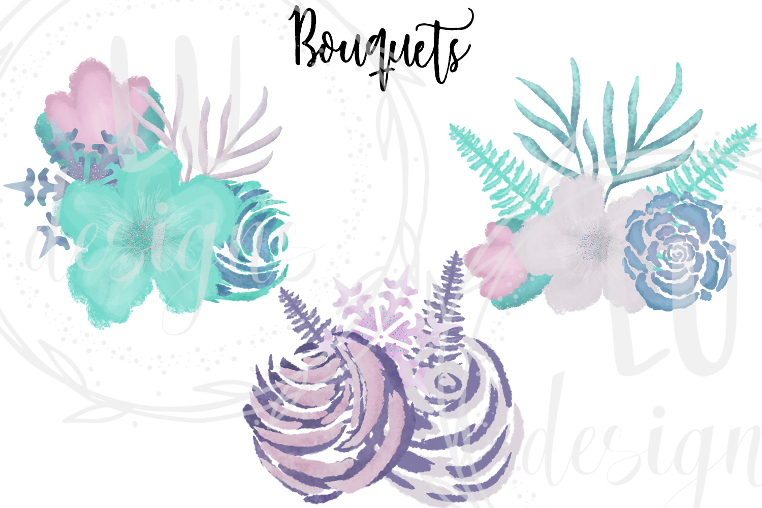 Winter Flowers Clipart, Watercolor Floral Winter Graphics example image 5