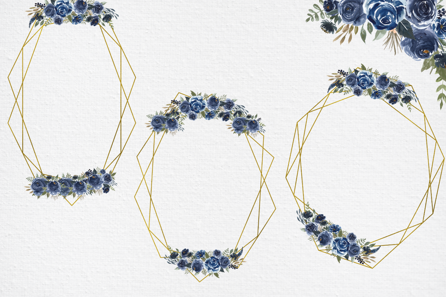Navy Blue Watercolor Flowers Frames, Geometric Gold Frames, example image 4