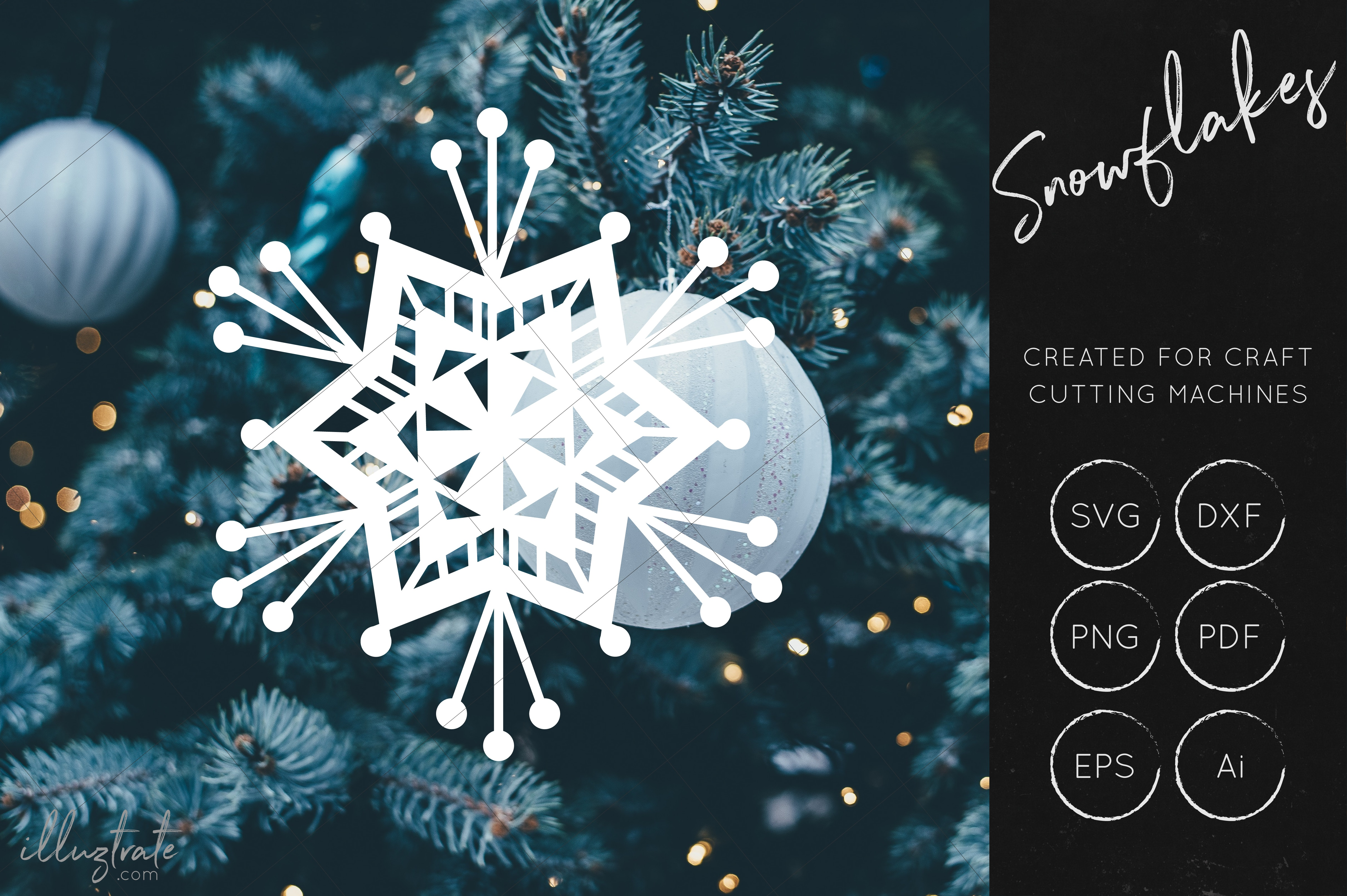 Snowflake SVG Cut File Bundles - Christmas SVG - Snowflakes example image 7