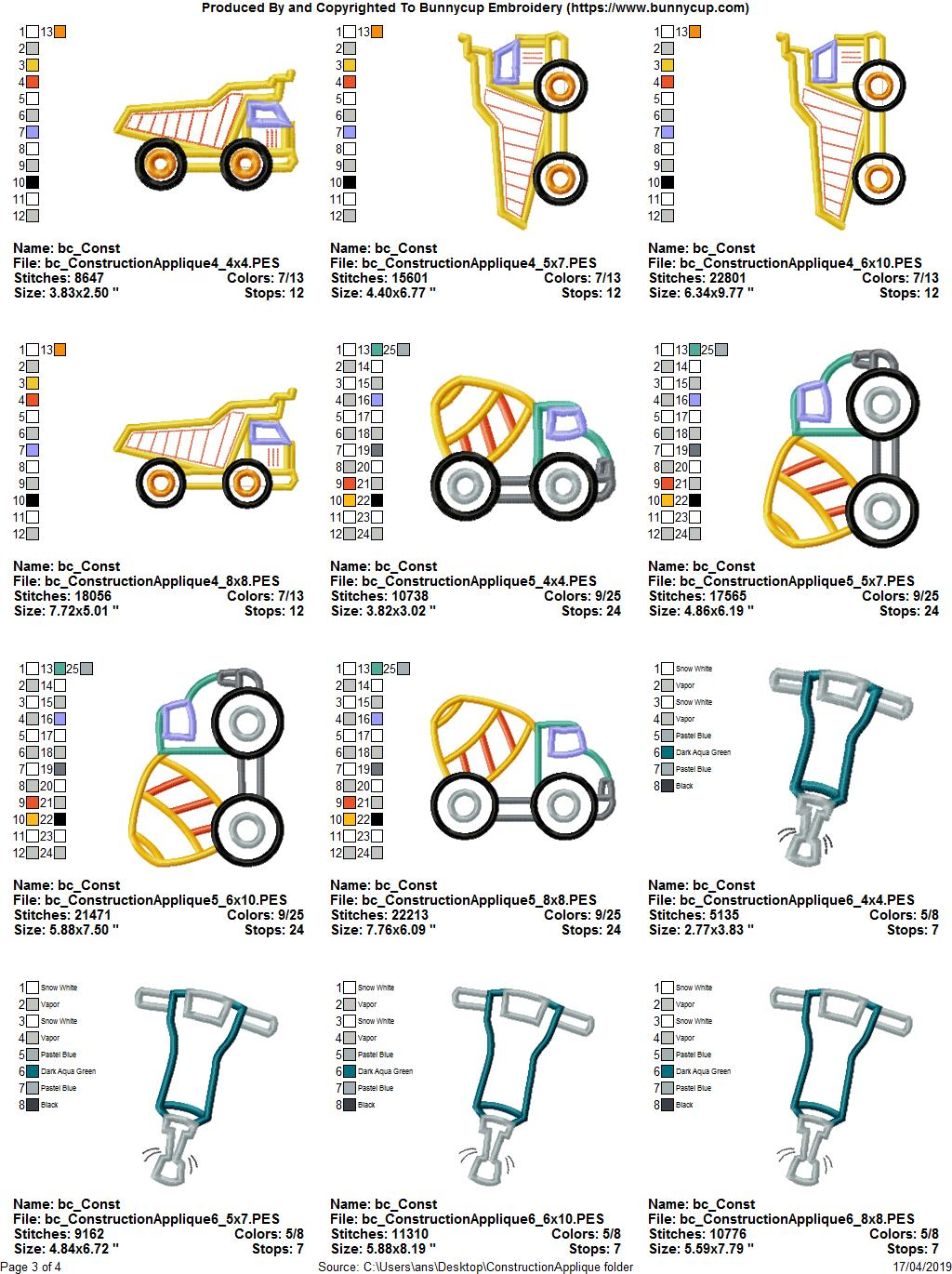 Construction Applique 12 Machine Embroidery Designs example image 16