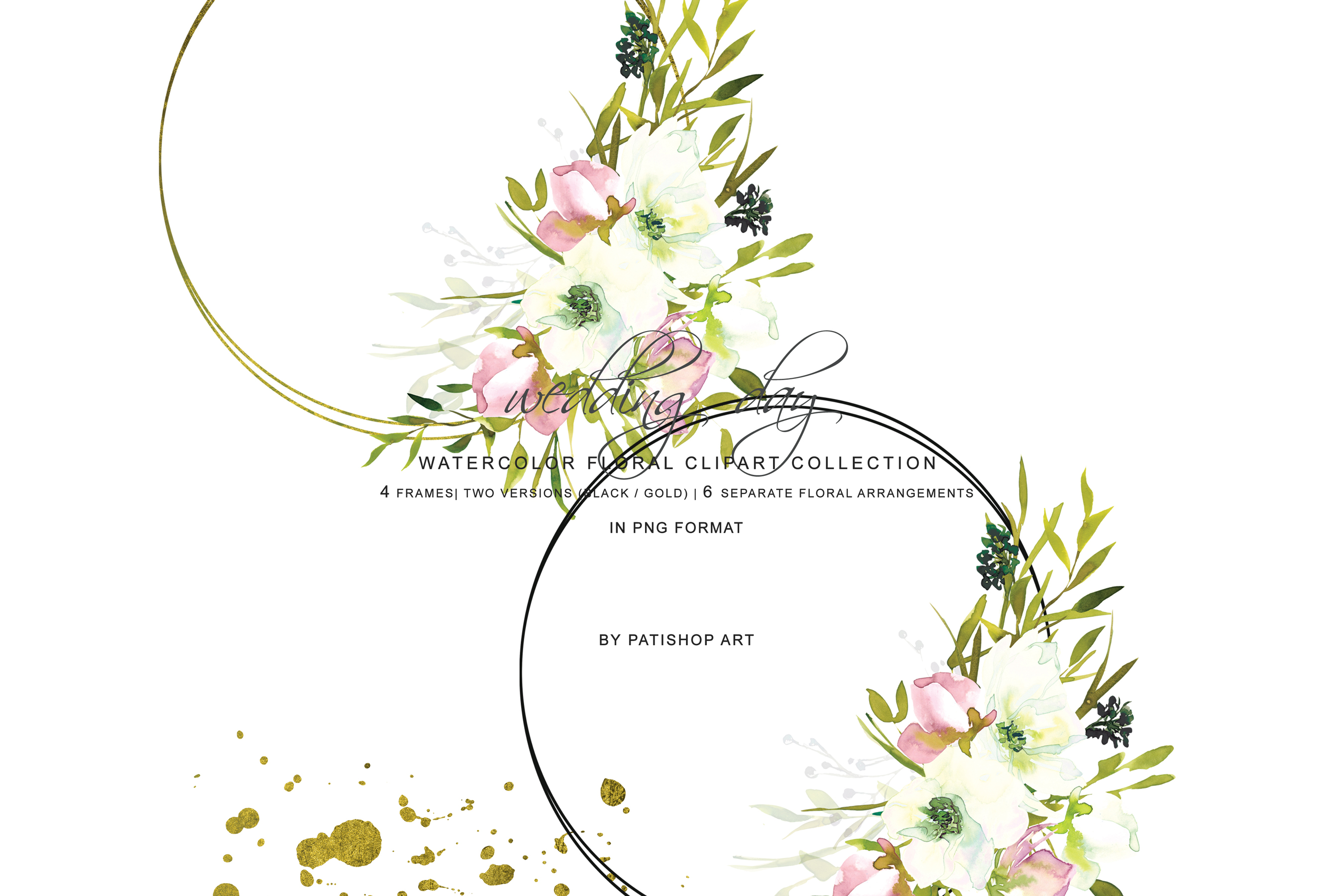 Hand Painted Watercolor Blush and White Rose Clipart example image 4