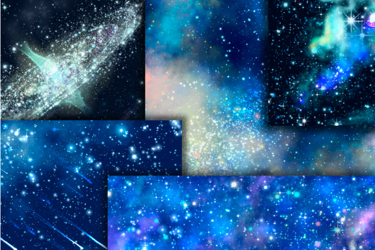 Blue galaxy digital paper. Starry sky background example image 2