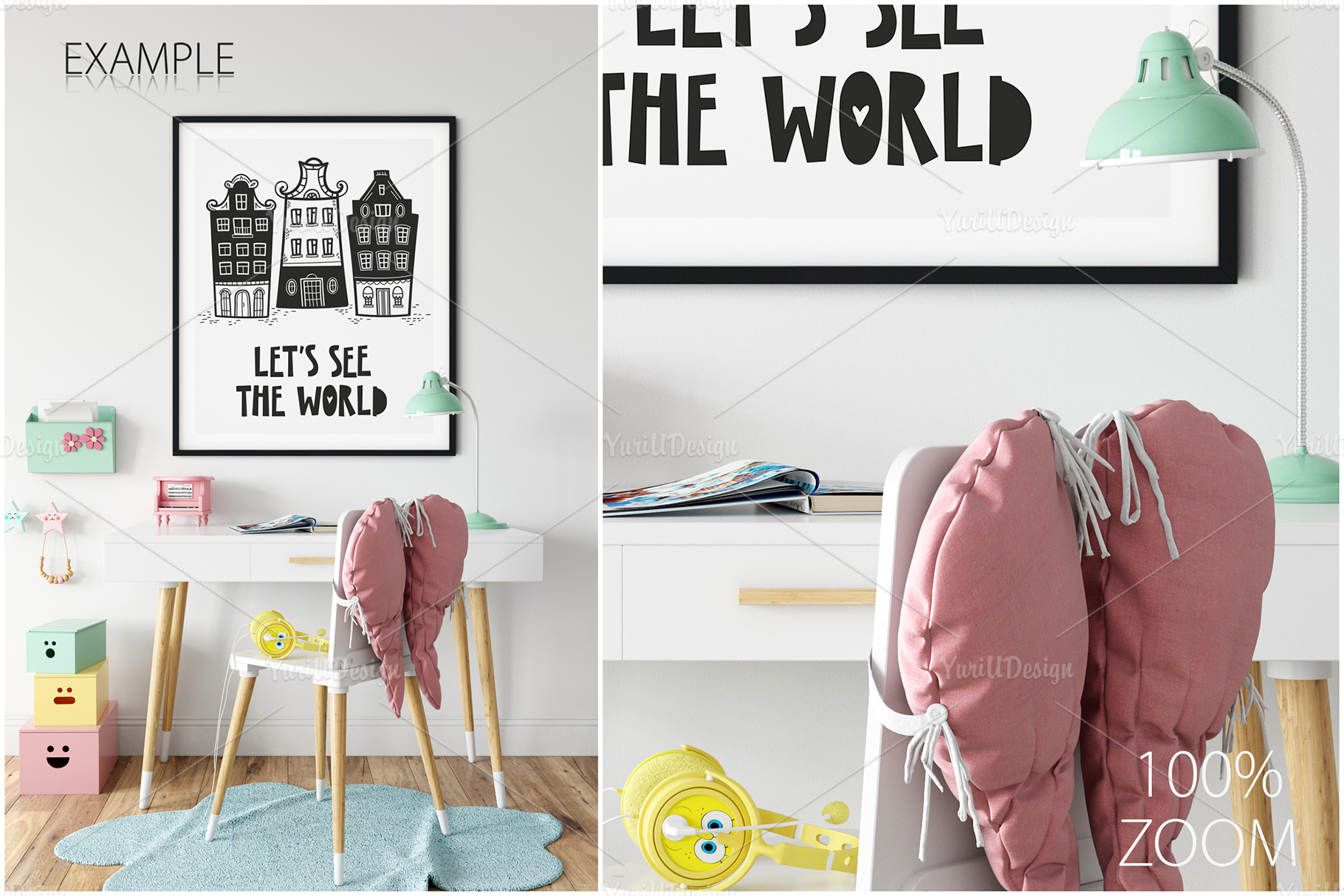 Kids Frames & Wall Mockup Bundle - 5 example image 24