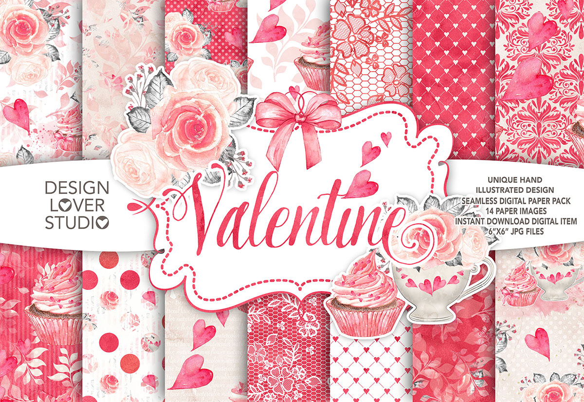 Watercolor Sweet Valentine digital paper pack example image 1