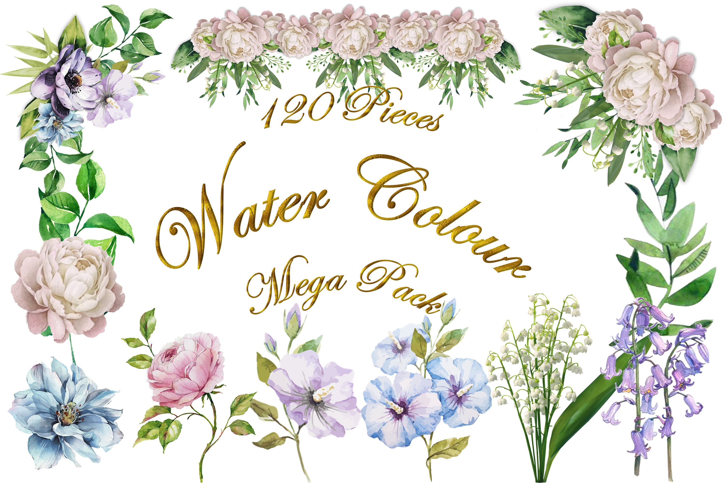 Water colour clipart bundle 120 pieces Commercial Use example image 1