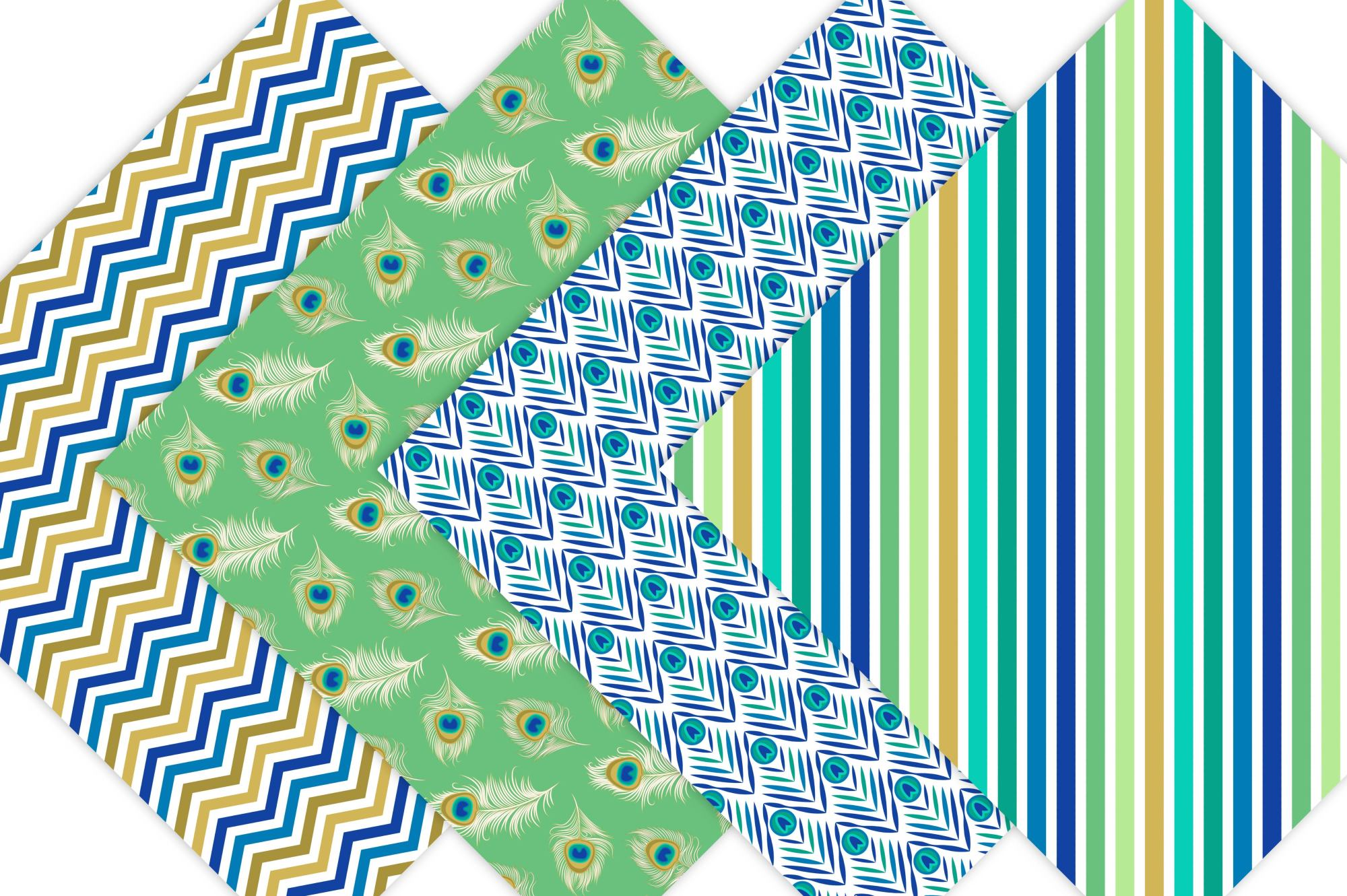 Peacock Digital Paper Patterns example image 4
