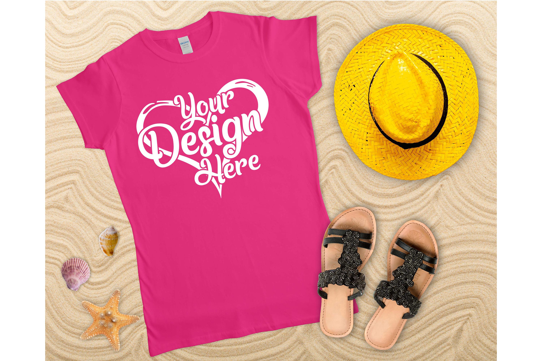 Gildan Ladies T-Shirt Mockup Bundle Flat Lay example image 4