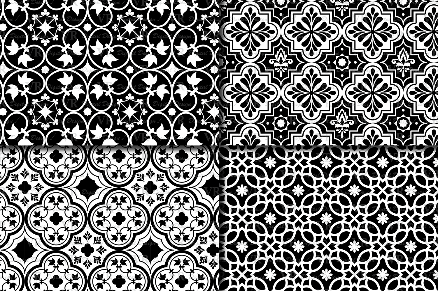 Black and White Moroccan Digital Paper Pack / Ethnic Tribal Geometric Ornamental Digital papers / Moroccan backgrounds / Scrapbooking paper example image 2
